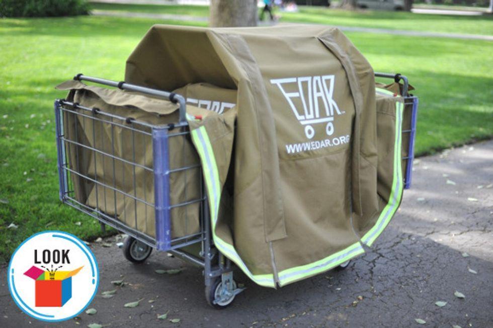 Look Shopping Cart Becomes Housing Start Portable Shelter Homeless Homeless Housing