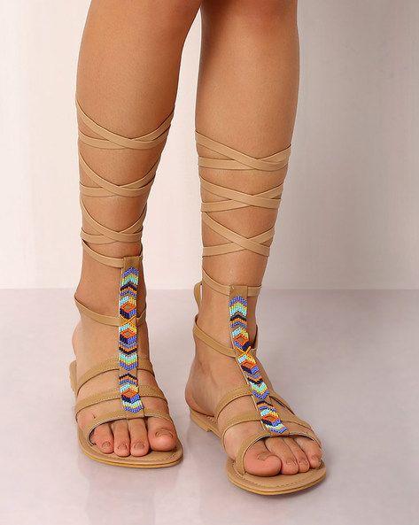 7ae198f09 Buy BROWN Indie Picks Beaded Gladiator Sandals