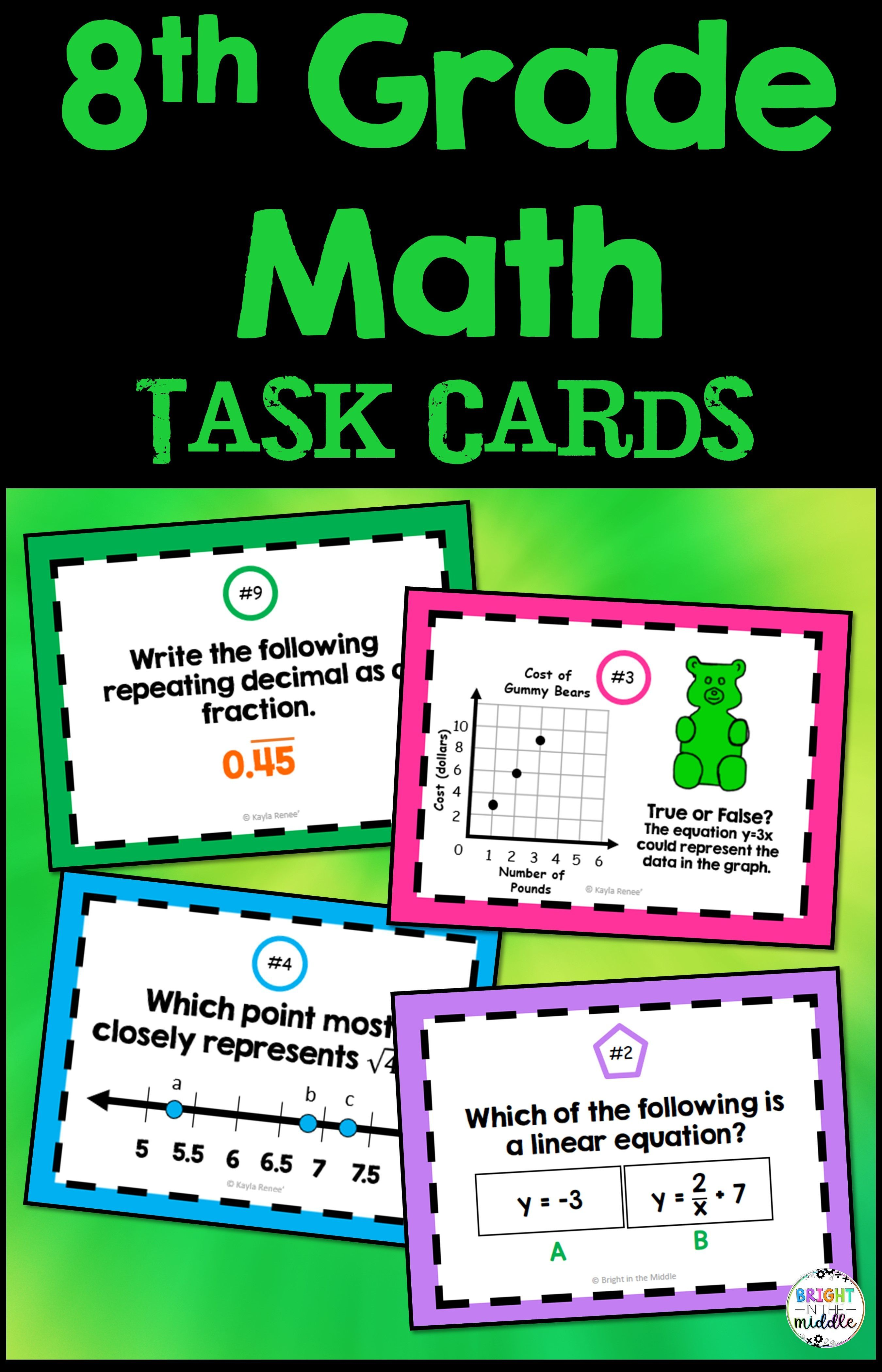 8th Grade Math Task Cards Growing Bundle In 2020 8th Grade Math Math Task Cards Math Tasks [ 4200 x 2700 Pixel ]