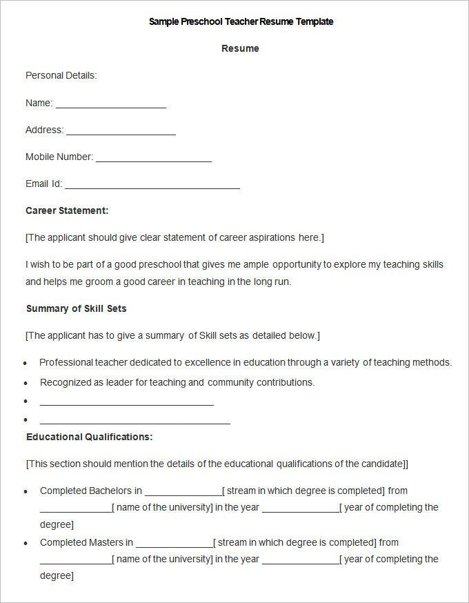 Preschool Teacher Resume Resume For Preschool Teacher Here Are - teaching skills for resume