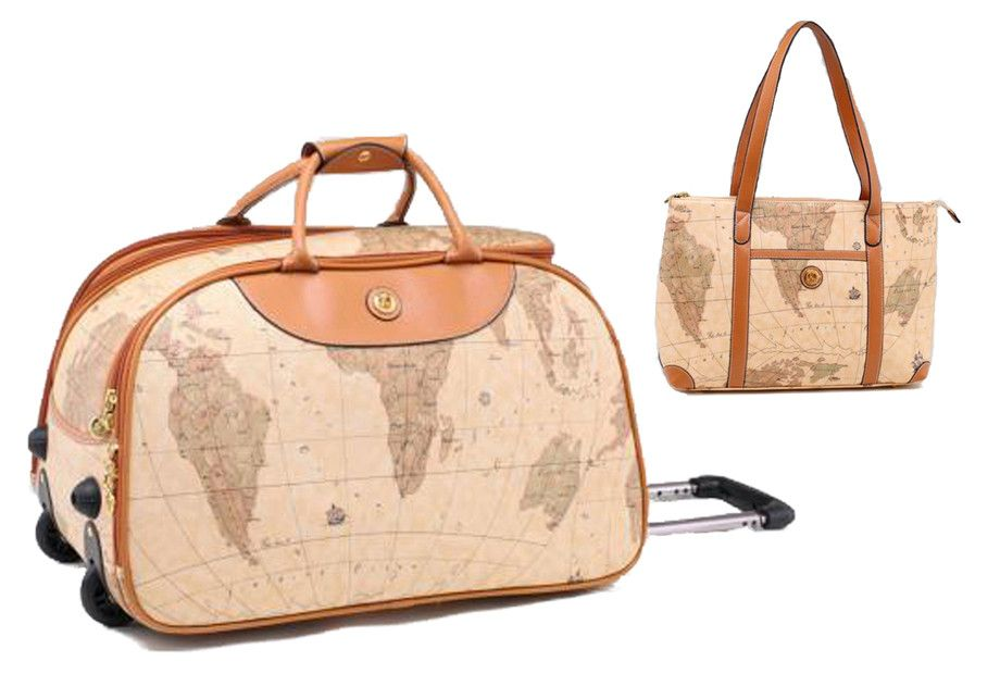Vintage style world map rolling duffle bag matching map tote bag vintage style world map rolling duffle bag matching map tote bag by k collection gumiabroncs Gallery