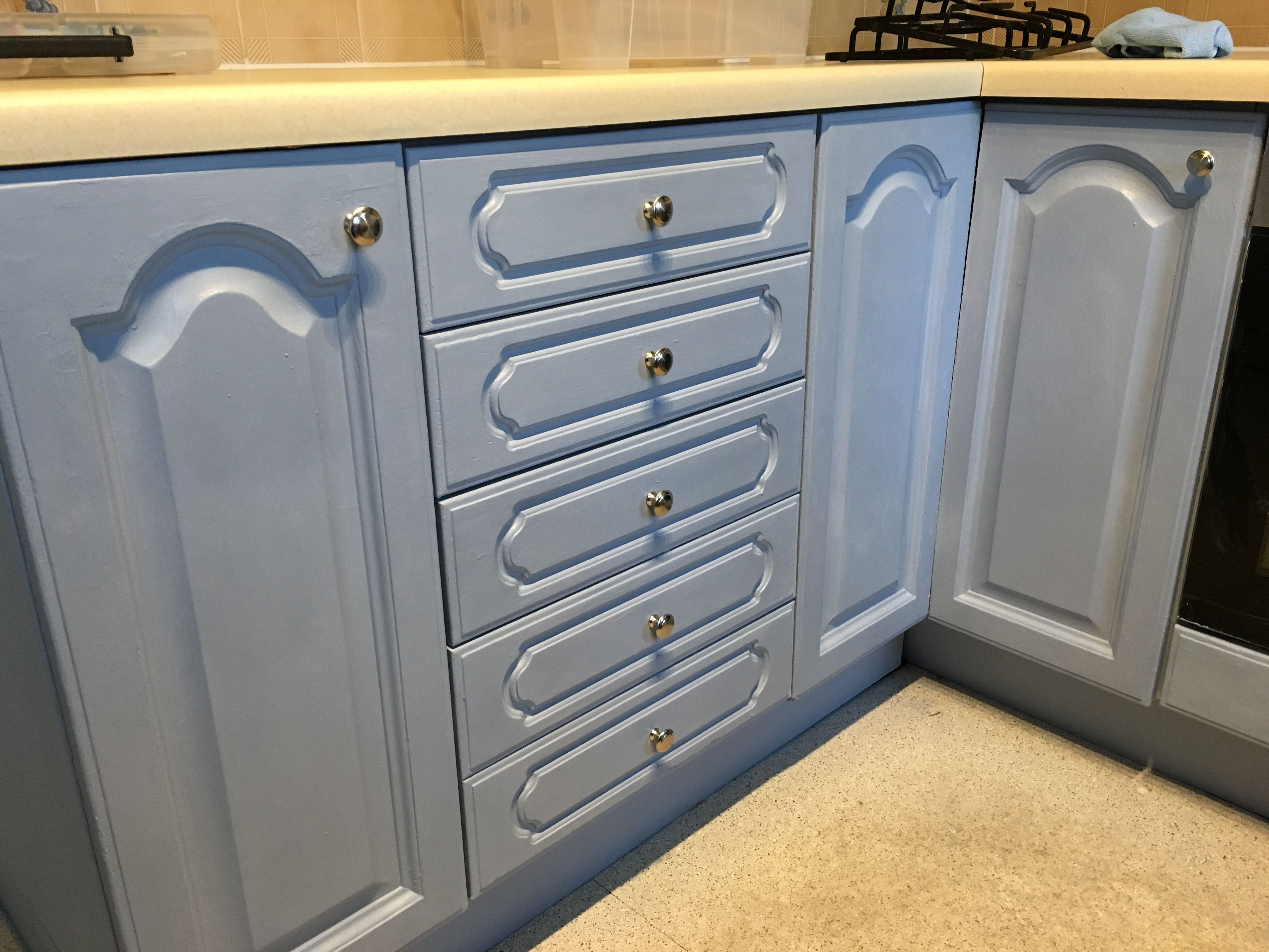 Country cottage kitchen cabinets painted in Annie Sloan\'s Louis Blue ...