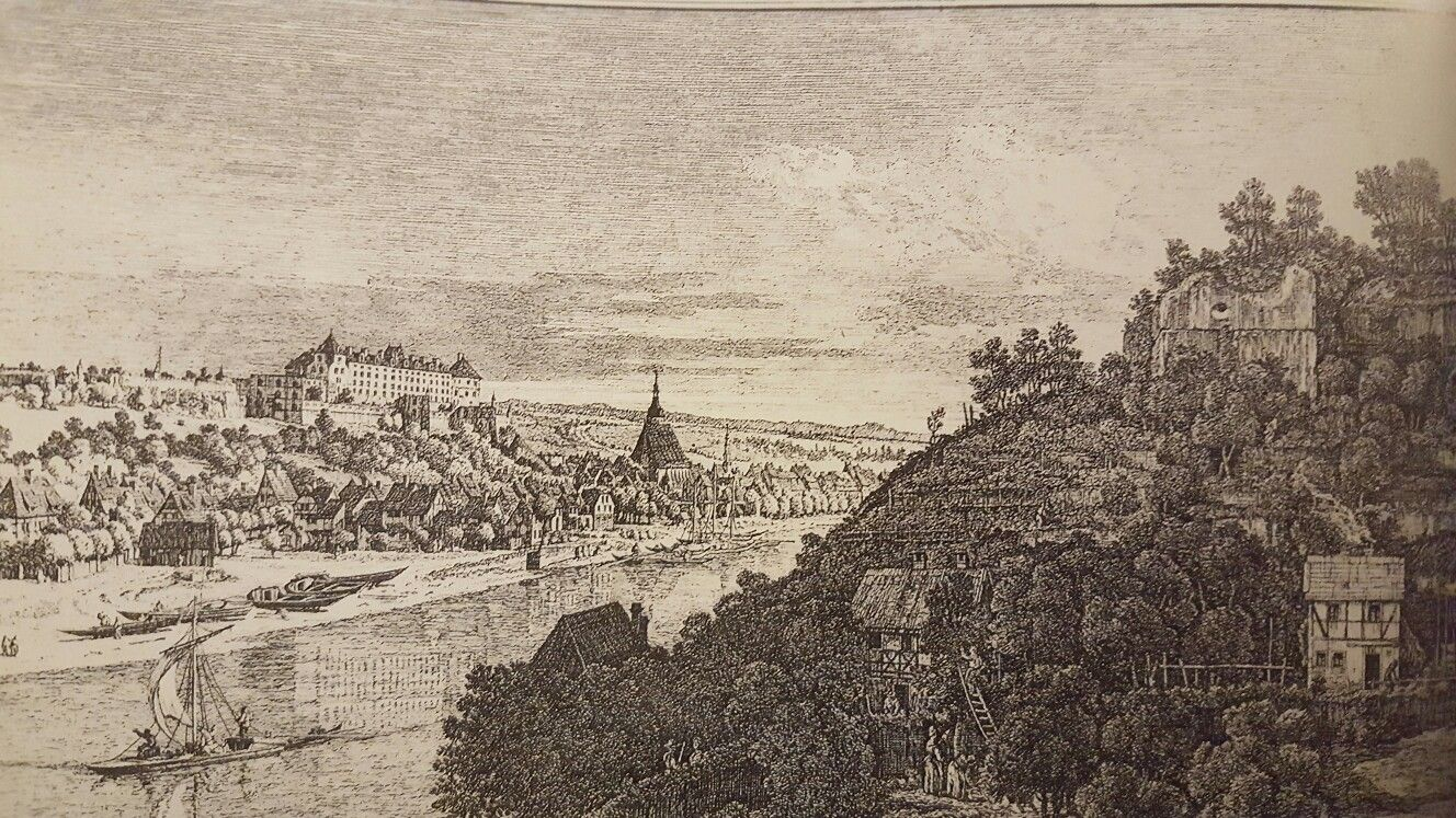 PIRNA SEEN FROM THE VINEYARDS AT POSTA. etching. 422 × 633 mm. only state. Dresden. Kupferstichkabinett.