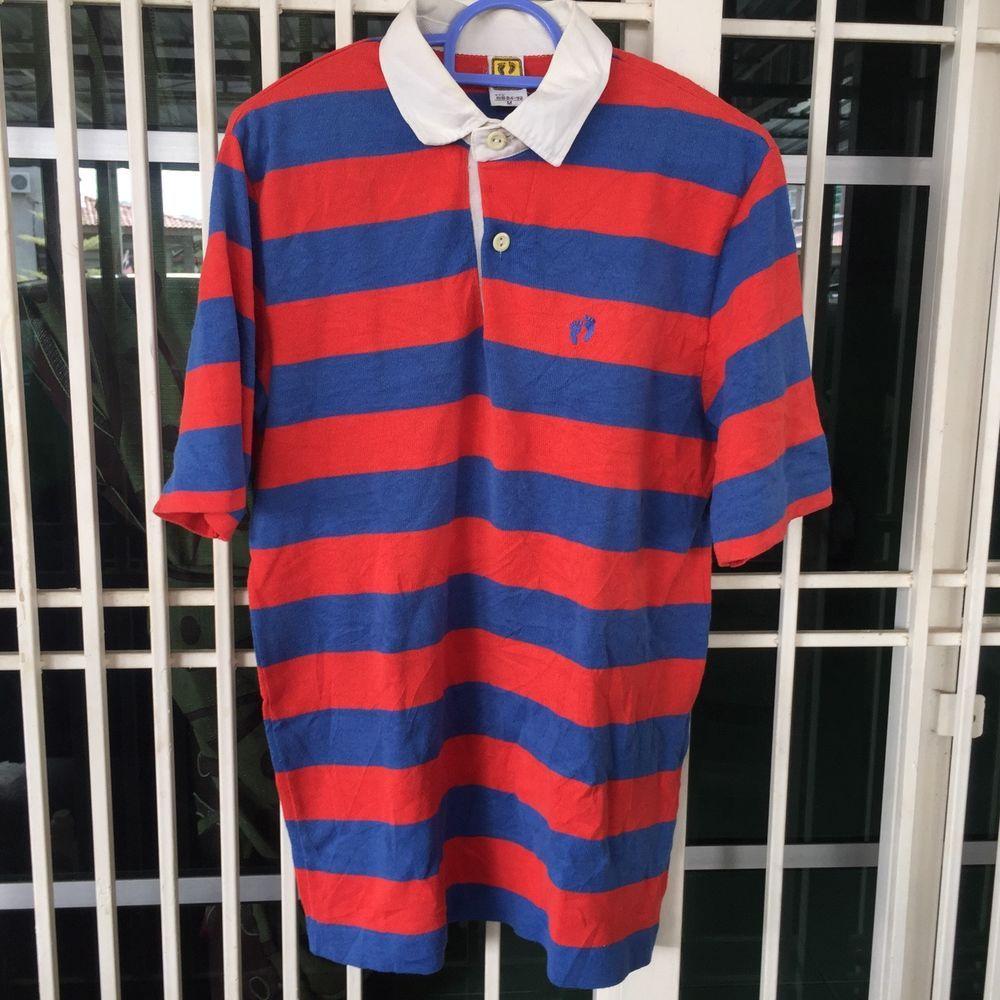 0f39218a2c Vintage 80s Hang Ten Striped Polo Shirt Suffer / Skate Style Size S/M | eBay
