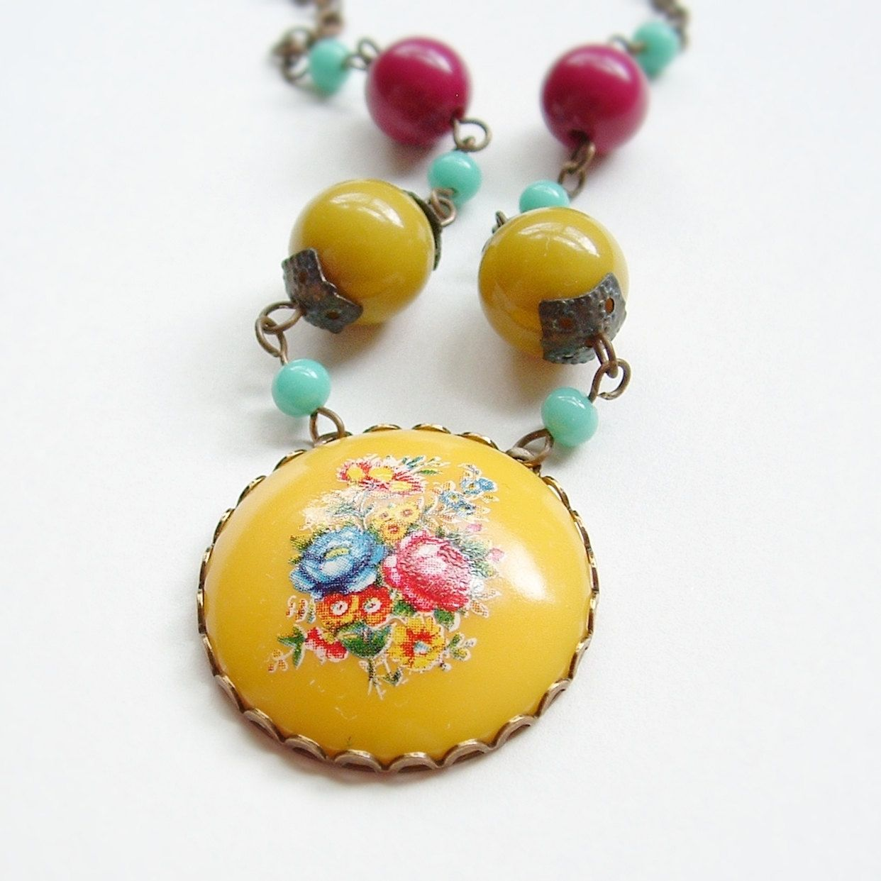 Yellow Flower Pendant Necklace Vintage Floral Cameo Retro Colorful