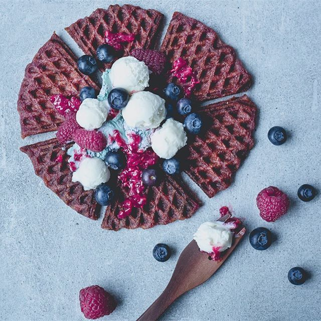 Breakfast idea: Beetroot waffles with coconut cream & berries.