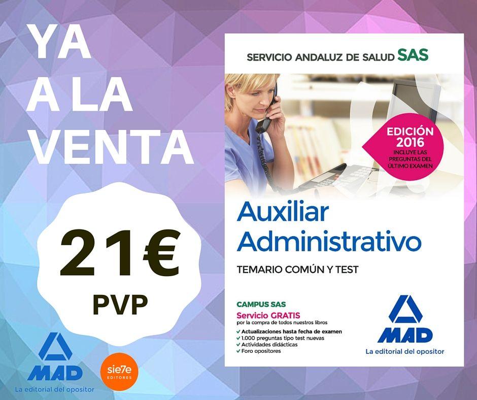 Auxiliar Administrativo temario común y test. Libro, temario, salud ...