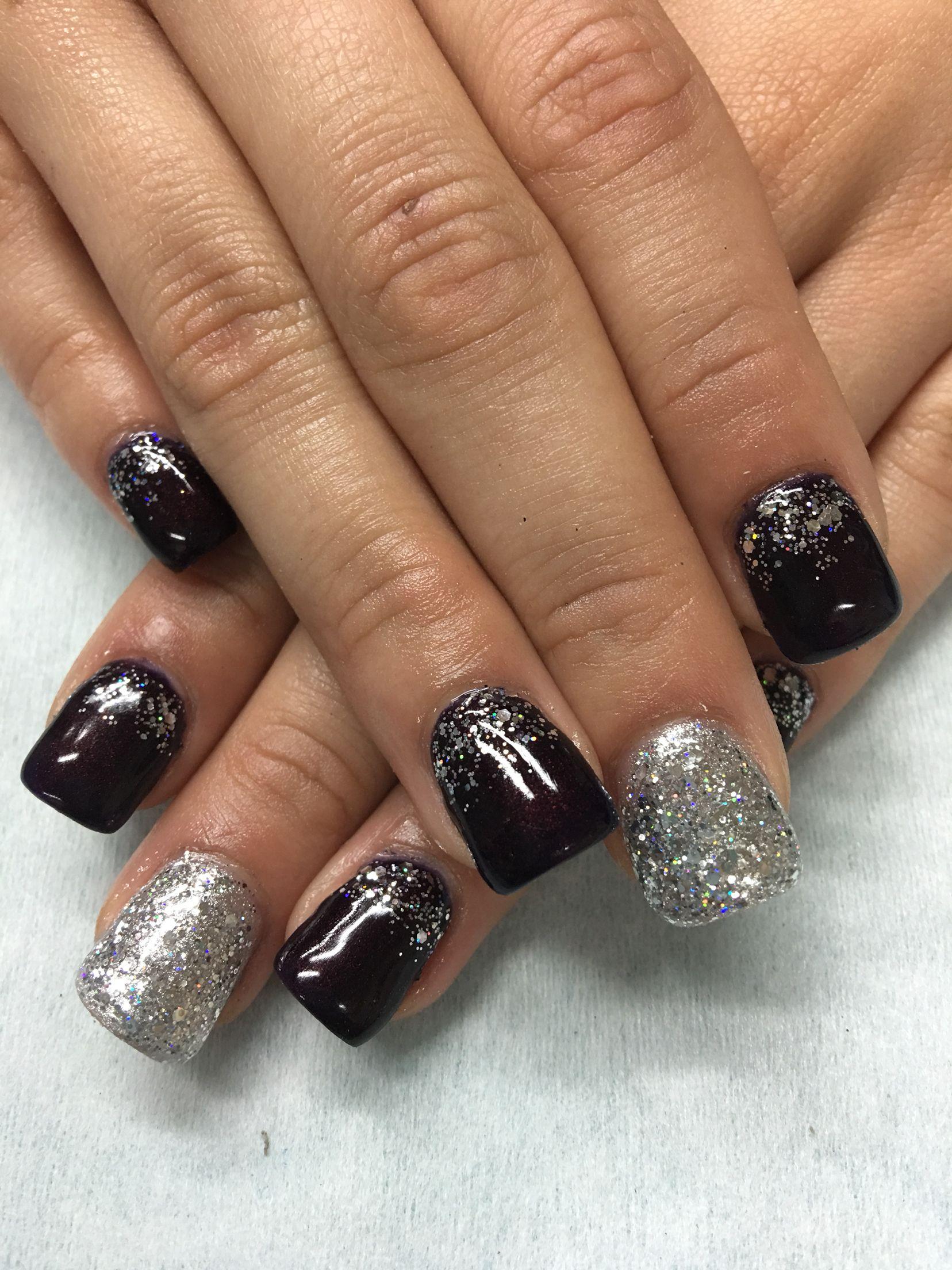 black cherry silver glitter gradient sculpted hard gel nails   gel
