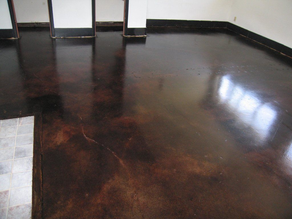 Dark concrete stained floor this is what i want to do to for Stained polished concrete floor