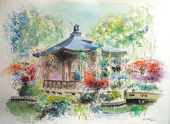 Peinture Japonaise Contemporaine Hs128 Temple Seiryoji Kyoto Japon