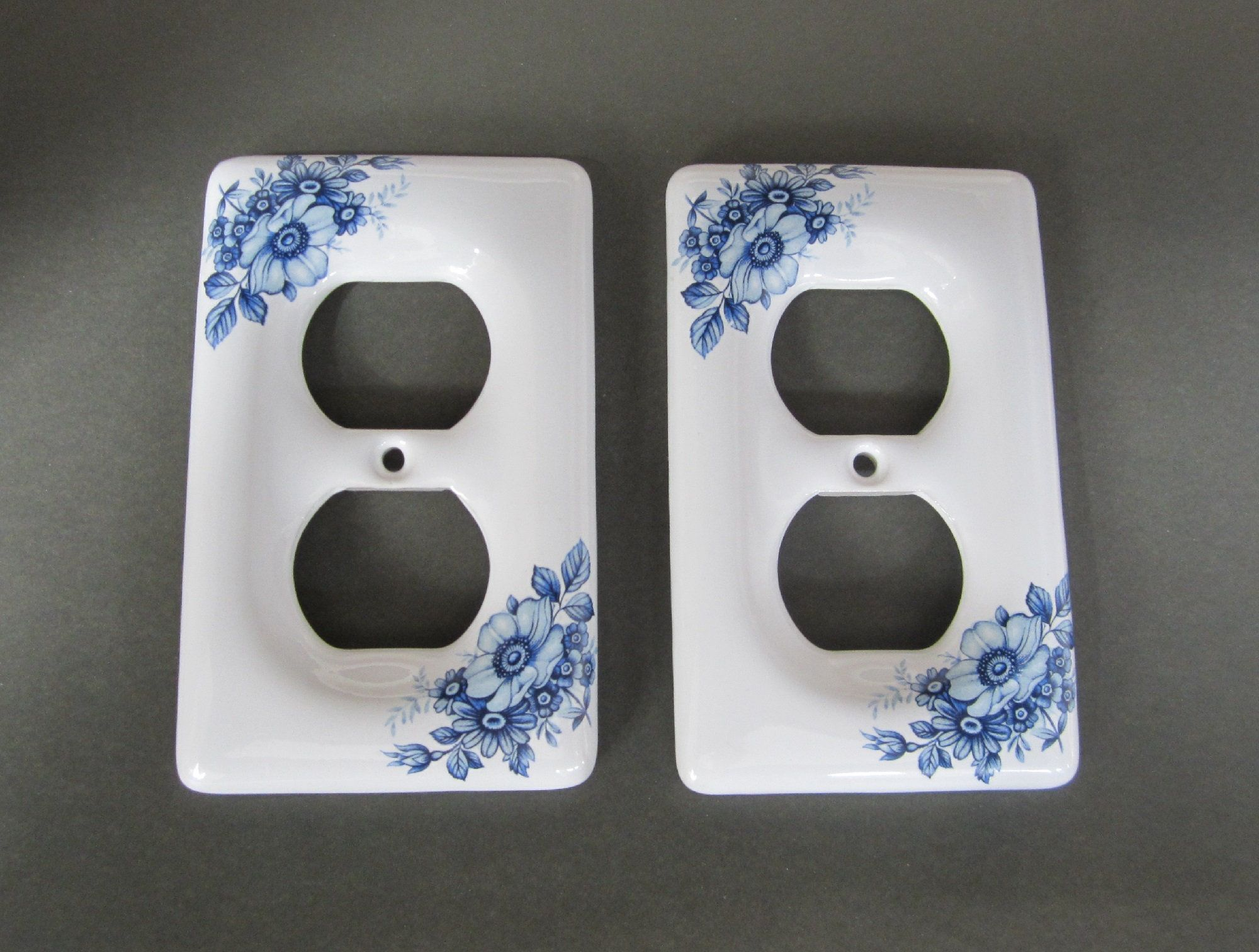 2 Pc Ceramic Outlet Cover Plate Blue Delft Style Floral Etsy Blue Plates Outlet Covers Ceramics