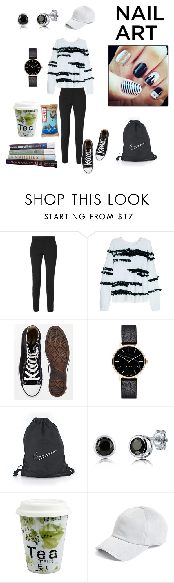 """""""8:00 a.m. Class! 😑"""" by klm62 ❤ liked on Polyvore featuring Gucci, Elizabeth and James, Converse, Myku, NIKE, BERRICLE, Könitz and rag & bone"""