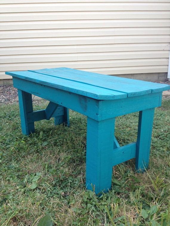 Blue Distressed Bench Indoor Outdoor By Louweelane On Etsy 75 00 Distressed Bench Indoor Outdoor Bench