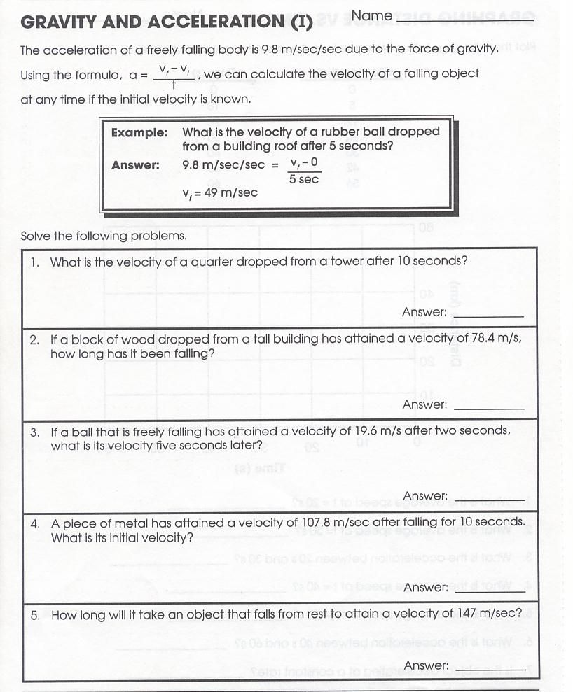 Worksheets Acceleration Worksheet motion acceleration and forces note taking worksheet yahoo image search results