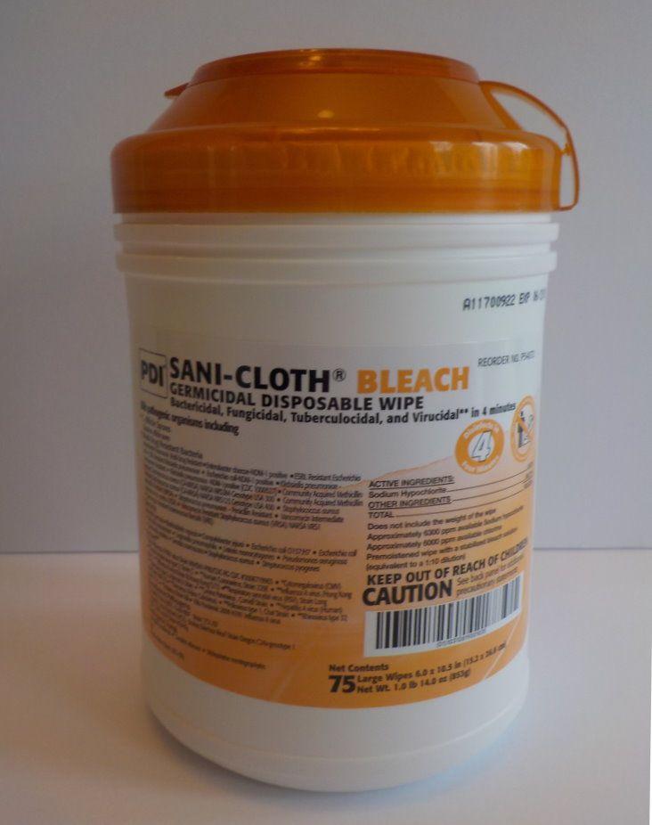 Sani-Cloth® Bleach Disinfectant Wipes, 75 cloths per tub | Products ...