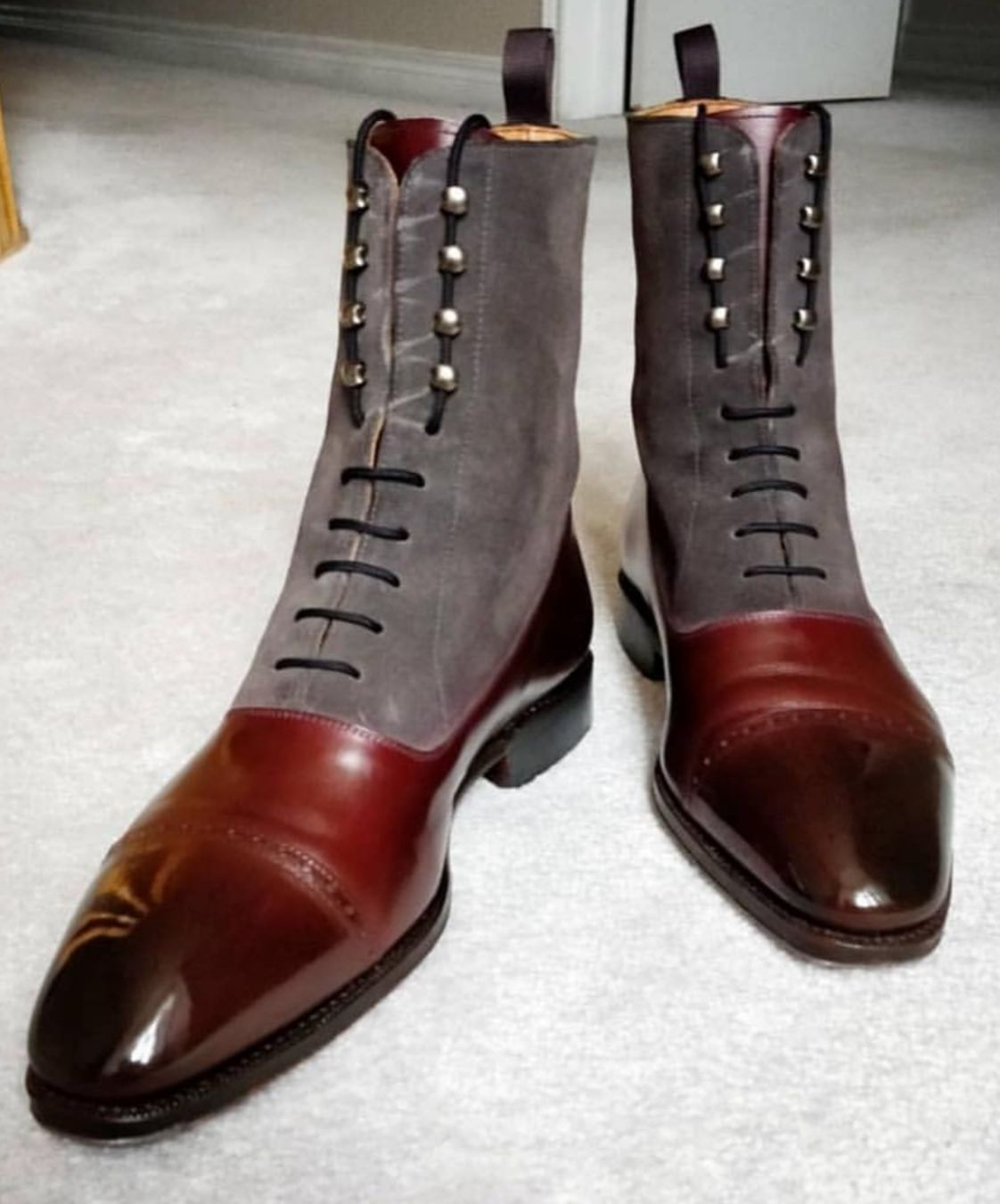 Handmade Brown Suede and Leather Ankle Boots, Men Two Tone