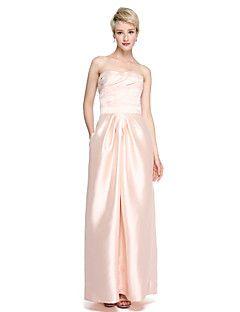 b8f24ba25e3b Sheath / Column Sweetheart Floor Length Satin Bridesmaid Dress with Sash /  Ribbon Criss Cross Ruching by LAN TING BRIDE®