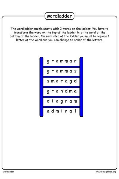 Free Printable Word Ladder Puzzle Maker The Game Starts With A Start Word And An End Word You Need To Find The Other Words Th Word Ladders Words Puzzle Maker