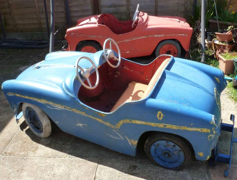 Vintage Fairground ride pair cars hotrod soapbox shop display circus ...