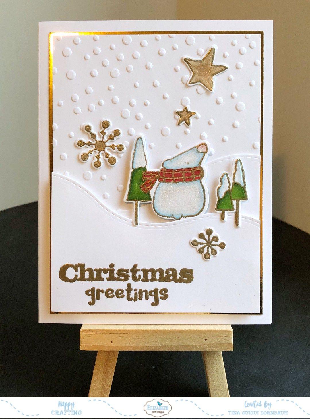 Polar Bear Christmas Greeting Card Elizabeth Craft Designs
