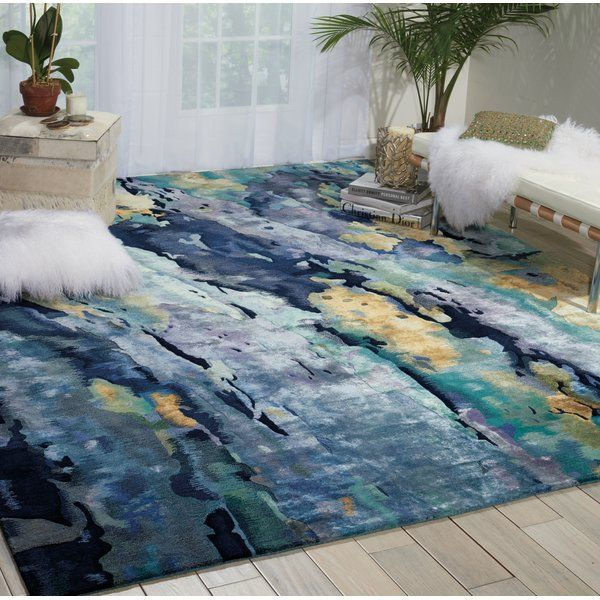 Annan Abstract Hand Tufted Silver Blue Area Rug Area Rugs Blue Area Rugs Rugs