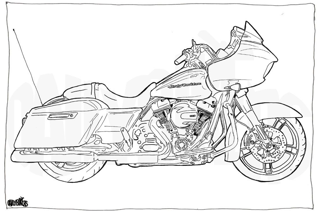 Harley Davidson Road Glide Colouring Page Motorcycle