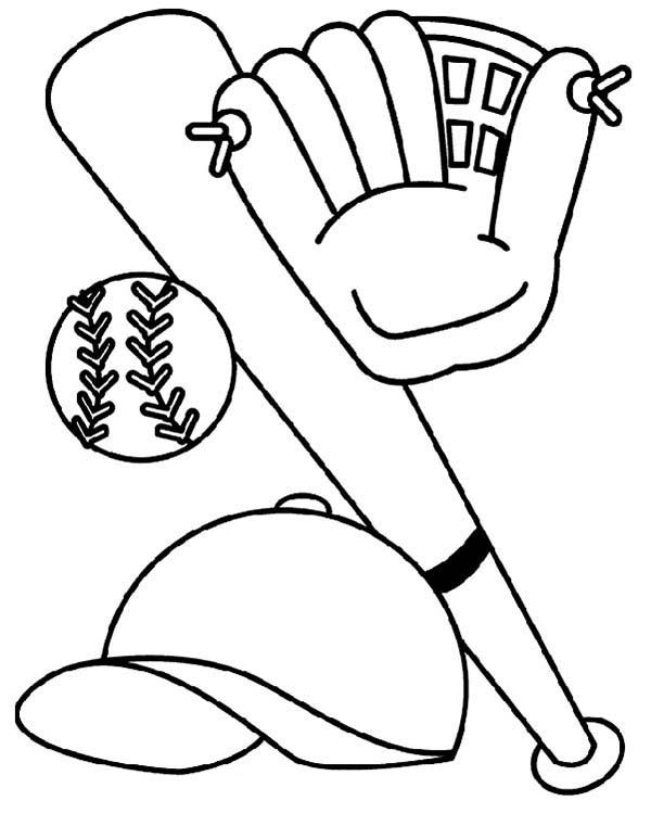 Bat Glove Hat And Baseball Coloring Page Baseball Coloring