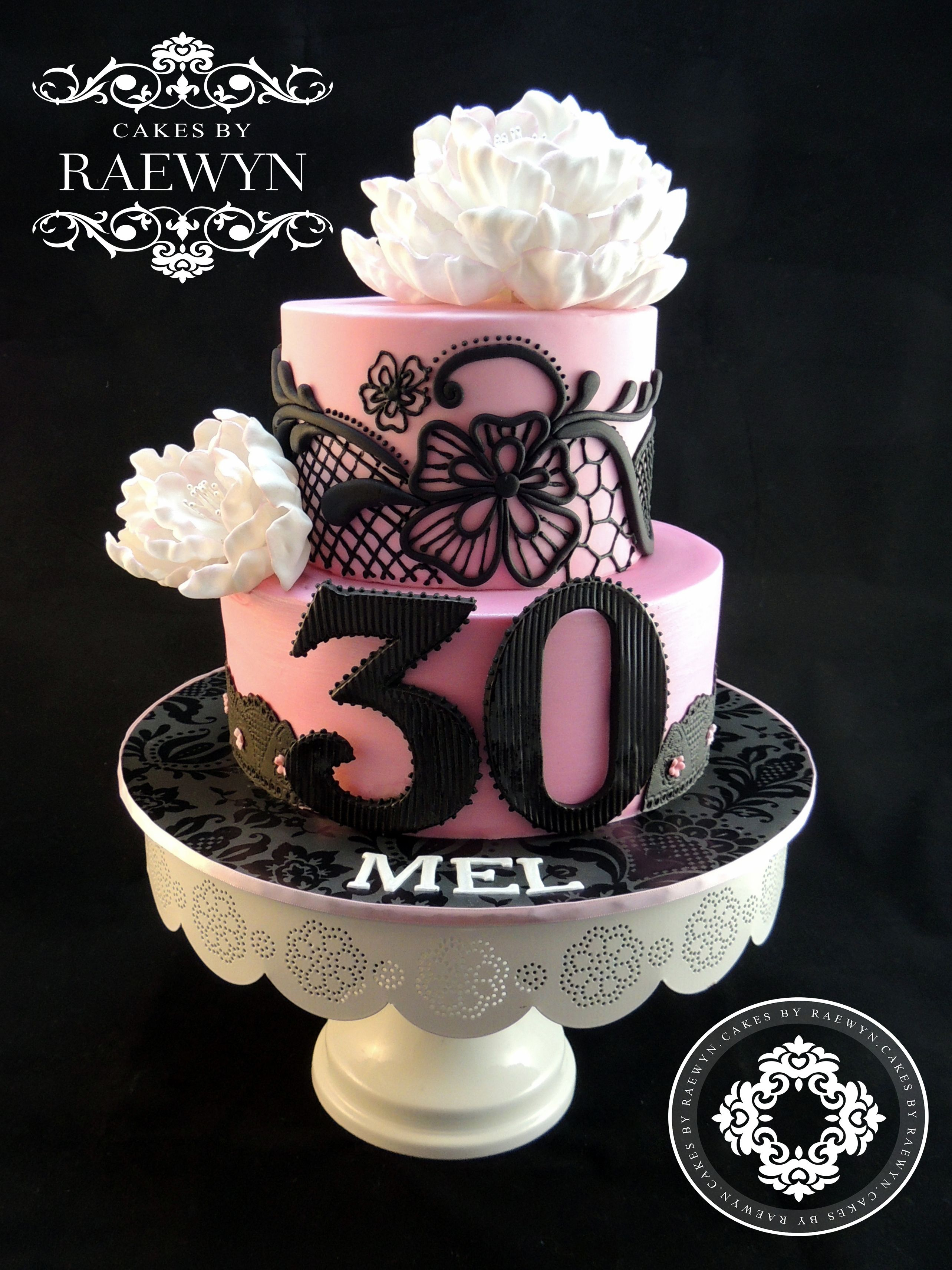 Peony And Black Lace Birthday Cakes 30th Birthday Cake For Her 30 Birthday Cake Cake