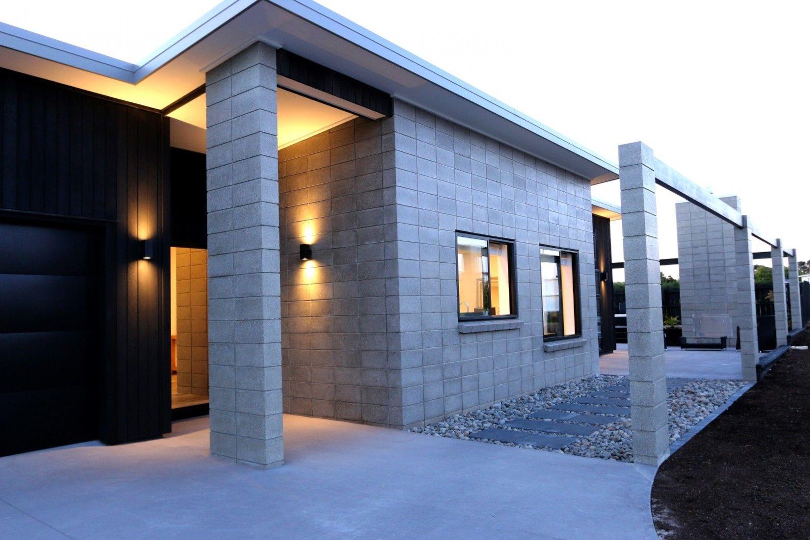 Exterior Block Cladding Nz Google Search Brick Exterior House Concrete Cladding Modern House Exterior