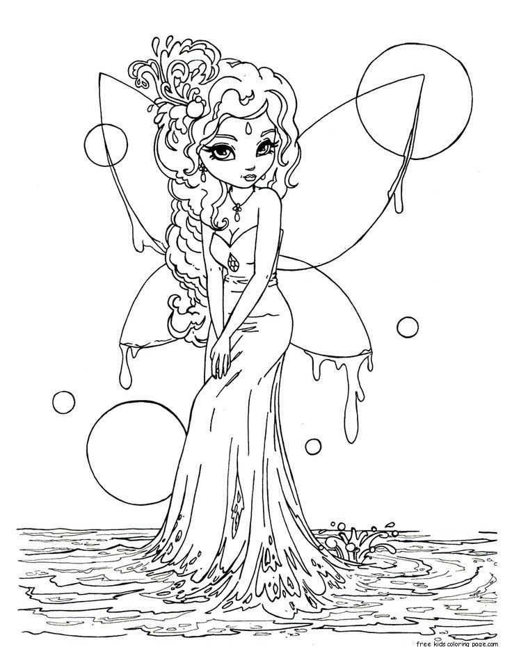 Printable Beautiful Fairy On Water Coloring In Pages For Kids