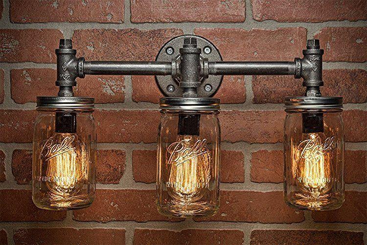 industrial bar lighting. Industrial Lighting - Mason Jar Light Steampunk Bar Chandelier Wall