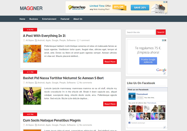 Maggner is a magazine blogger template inspired by ribbon wordpress ...
