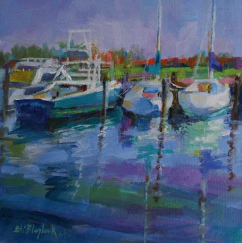 SAILBOATS DOCKED IN BLUE WATERS, painting by artist Elizabeth Blaylock