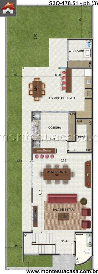 Planta de Sobrado - 3 Quartos - 17851m² - Monte Sua Casa houses - plan de maison moderne 3d