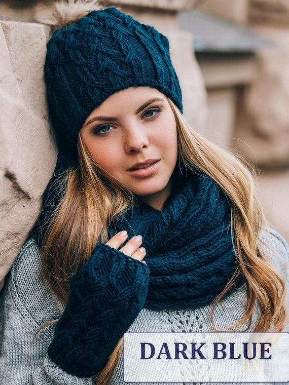 Hat Scarf Gloves Set Hat Scarf Combo Hat Scarf Mittens Hat Etsy In 2020 Winter Knits Wool Winter Knit Set