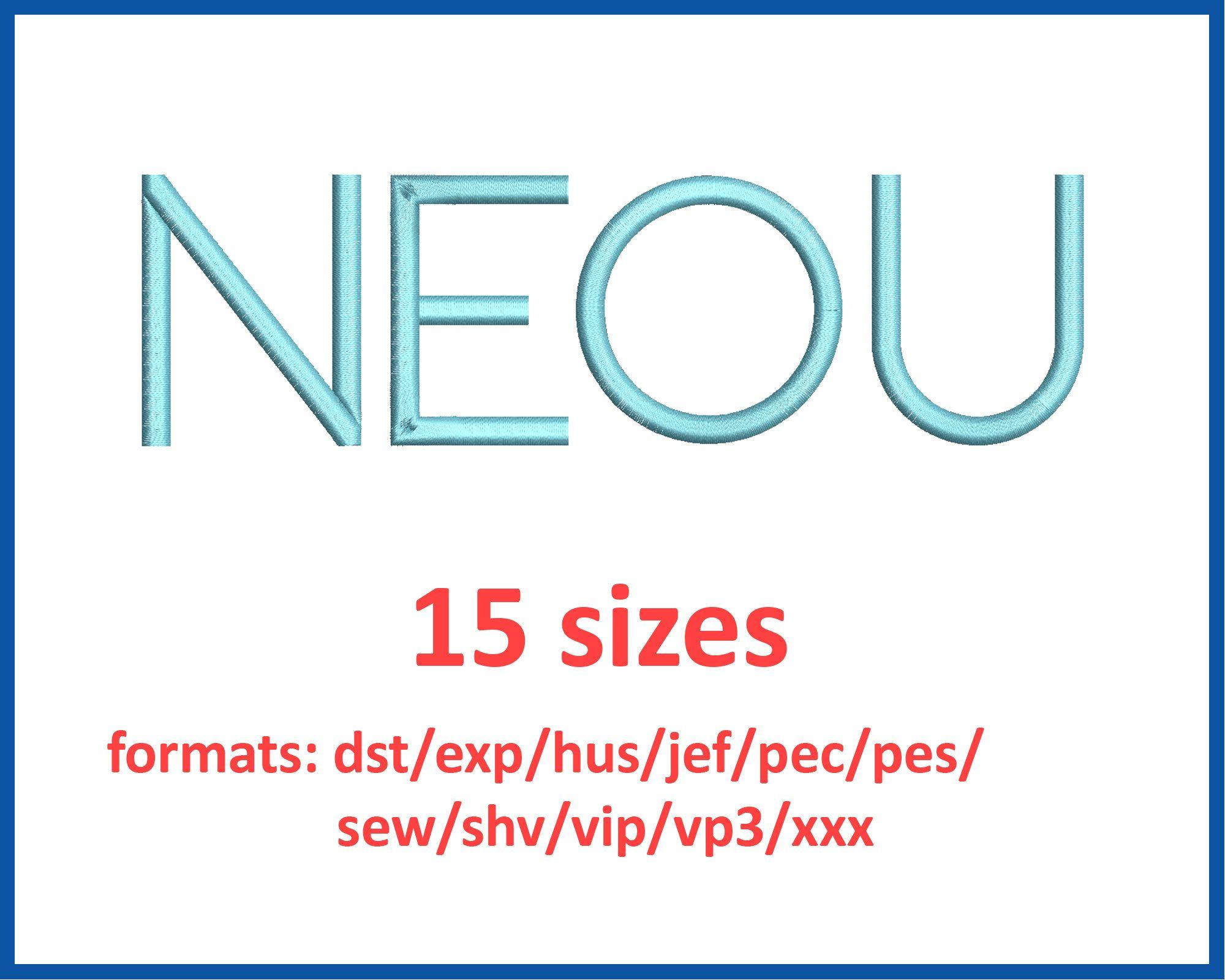 NEOU font embroidery design 15 sizes 0.25(1/4), 0.5(1/2