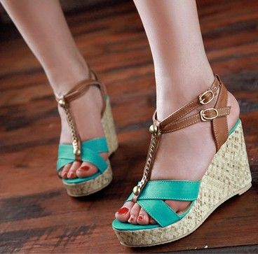 Chain Detail Fresh Color Wedge Sandals -Green