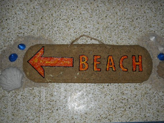 Wood Look Recycled Beach Sign Orange and by FlipFlopRecycled