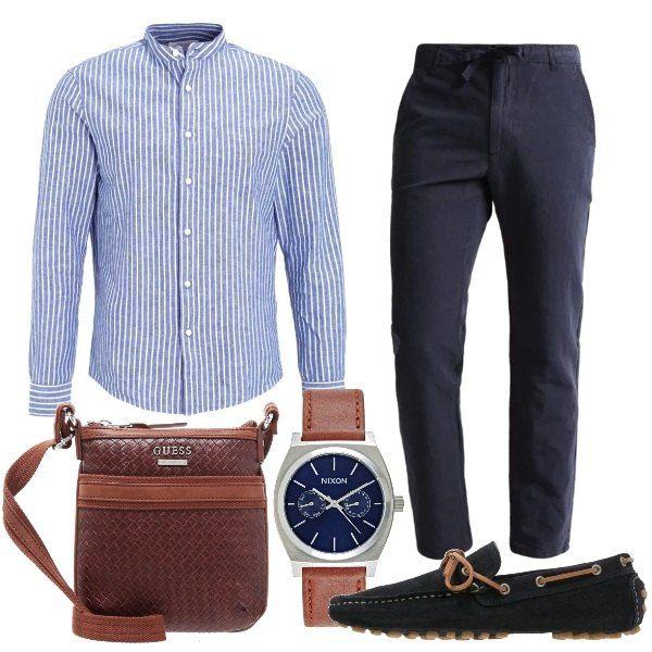 Camicia in cotone e lino a righe con colletto alla coreana ... f49d0fe51bf