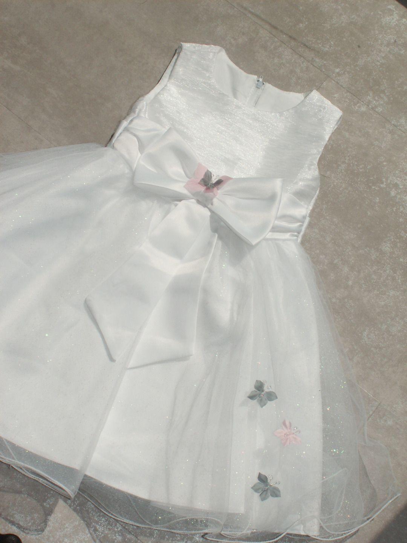 cd628c1364535 Robe Fleur de soie Bébé Fillette Blanc Baptême Mariage Mariée Accessoires  papillon rose et gris   Mode Bébé par bandeau-bapteme-bebe