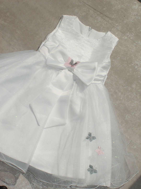Robe Fleur De Soie Bebe Fillette Blanc Bapteme Mariage Mariee