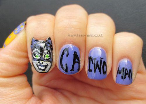 Lisas Nails Catwoman Nail Art Superhero Nail Art Pinterest