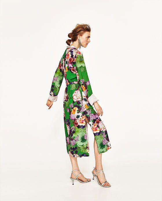 Estampado De 2 Imagen Kimono ZaraCostura Largo Flores QBWCordex