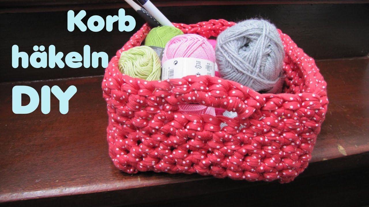 Viereckigen KORB häkeln - Textilgarn - sehr einfach und schnell ...