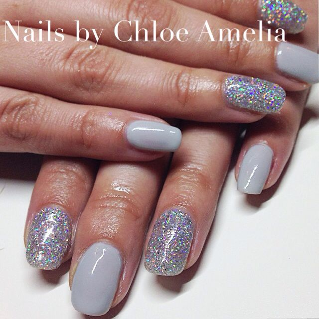 Morning Mist And Diamond Glitter Calgel Nails Gel
