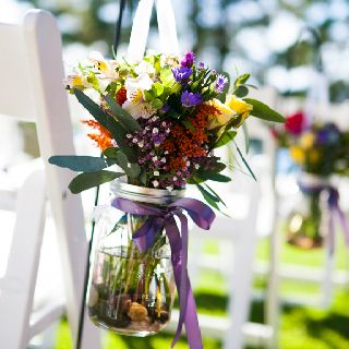 From my actual wedding: mason jars filled with lake rocks and mini ...