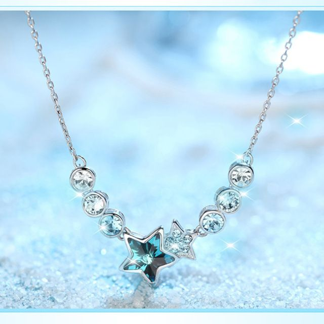 1 Pcs Fashion Classic Luxury Austrian Style Crystal Necklace Sparkling Star Pendant Collarbone Chain Jewelry
