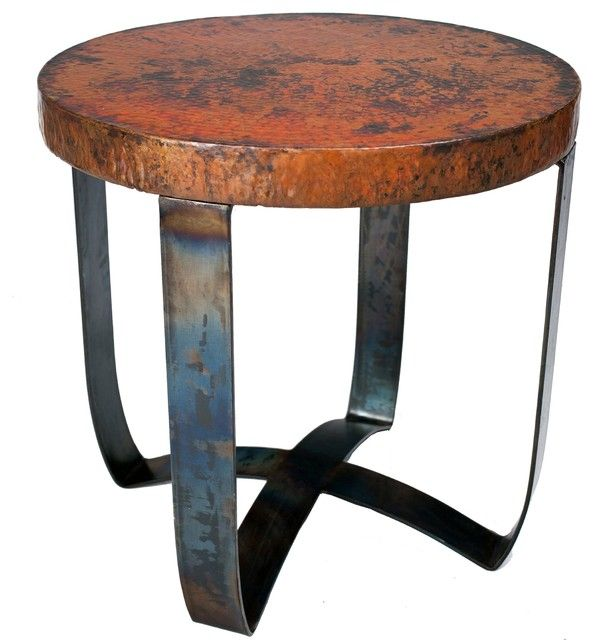 Lovely Round Strap End Table With Hammered Copper Top Prima Eclectic Copper End  Tables