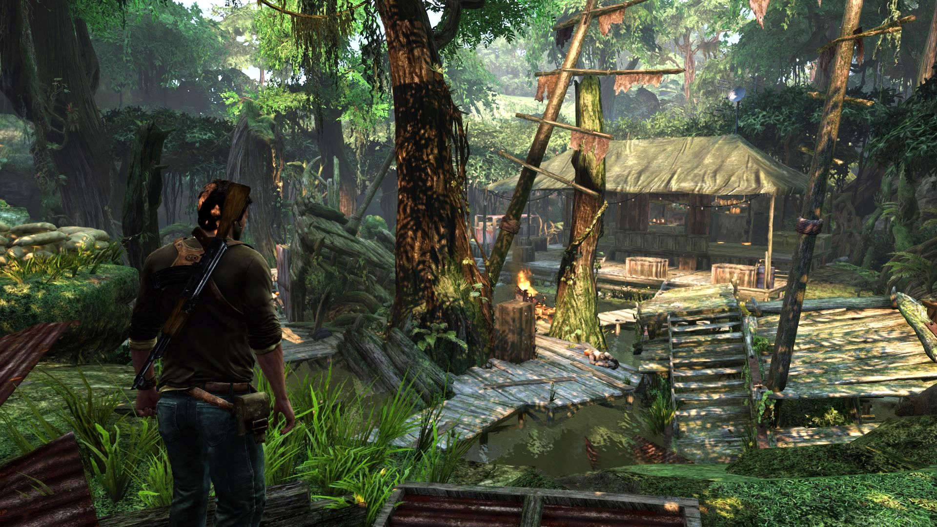 Uncharted 2 - Major battle here. Notice the rotting ship with a tree growing out of it? That must have been some tidal; wave!