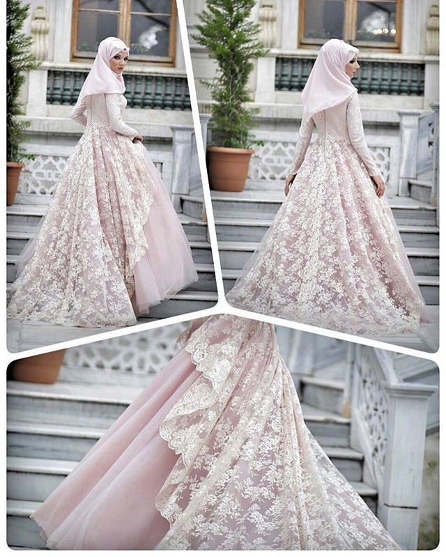 """Photo of Muslim Wedding Ideas {105k} on Instagram: """"Stunning dress ♥ Love the lace layer ♥ From @gonulkolatofficial ♥. . . . . . #muslimwedding #hijabbride #muslimweddingideas # april… """""""